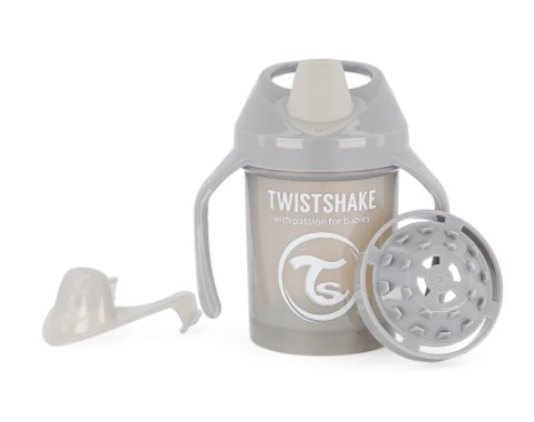 Nekvapkajúci hrnček Twistshake so sitkom, 4m +, 230ml, sivý