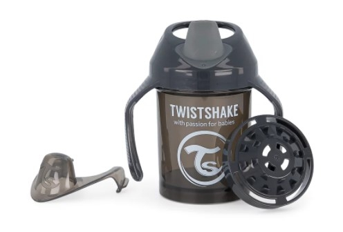 Nekvapkajúci hrnček Twistshake so sitkom, 4m +, 230ml, čierný