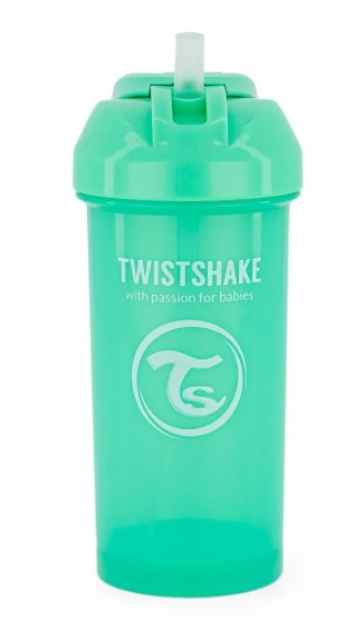 Fľaša so slámkou Twistshake - 6m +, 360 ml, zelená