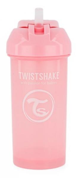 Fľaša so slámkou Twistshake - 6m +, 360 ml, ružová