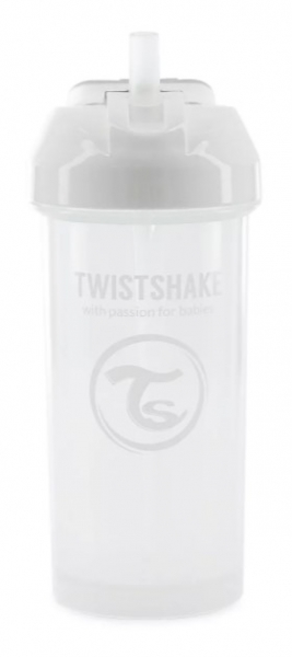 Fľaša so slámkou Twistshake - 6m +, 360 ml, biela