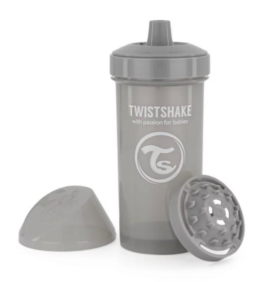 Fľaša pre deti Twistshake so sitkom, 12 m +, 360 ml, sivá