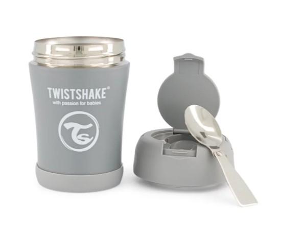Termoska Twistshake na jedlo, 350 ml, sivá