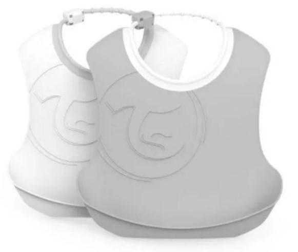 Plastový podbradník Twistshake, 2 ks - sivý / biely, 4 m +