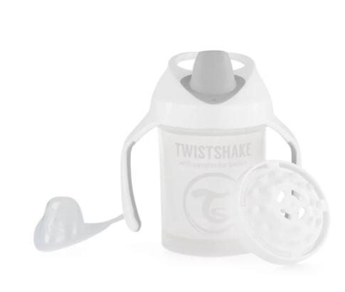 Nekvapkajúci hrnček Twistshake so sitkom, 4m +, 230ml, biely