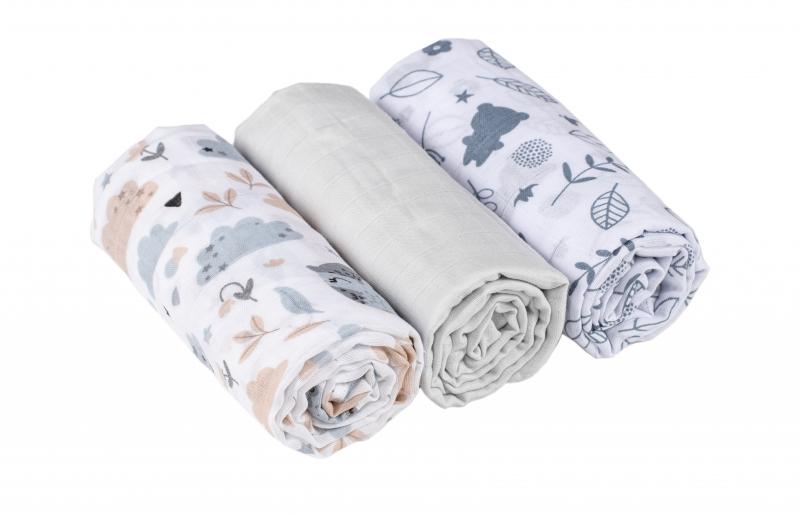Baby Nellys mušelínové plienky 3ks Lux - Bunny, 70 x 80 cm, sivá/biela