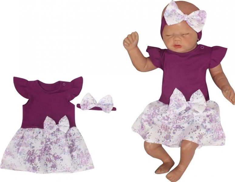 Z&Z 2-dielna sada sukničkobody Kr. rukáv s mašľou + čelenka - fialová , veľ. 80-#Velikost koj. oblečení;80 (9-12m)
