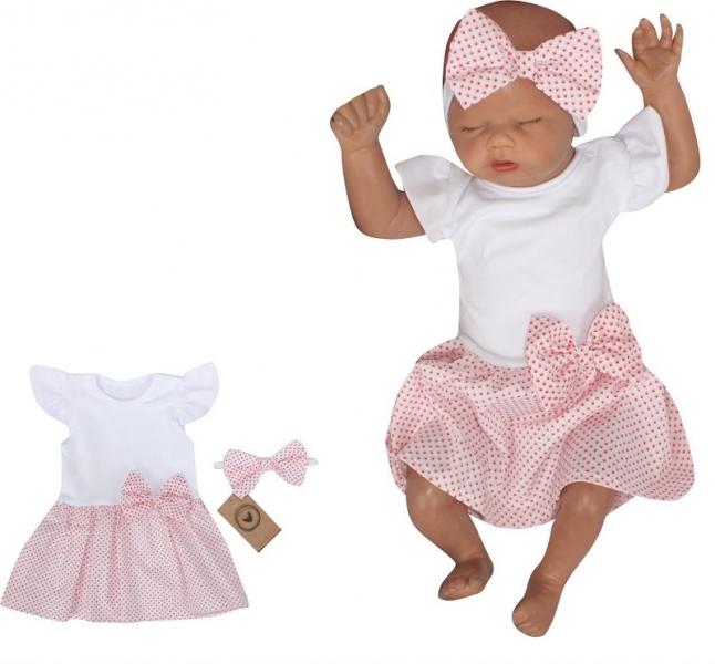 Z&Z 2-dielna sada sukničkobody Kr. rukáv s mašľou + čelenka - biela, růžová, veľ. 80