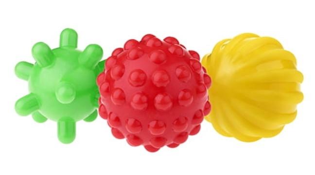 TULLO Edukačné farebné loptičky 3ks v balení, zelený/červený /žltý