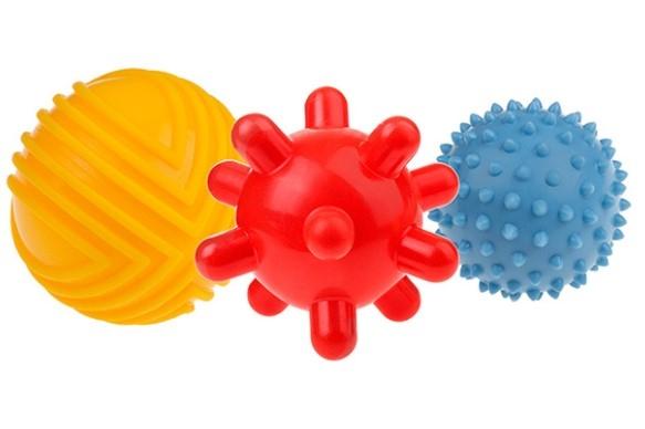 TULLO Edukačné farebné loptičky 3ks v balení, žltý/červený/modrý
