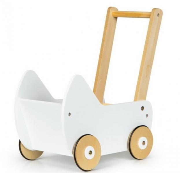 Eco toys Drevený kočík pre bábiky  - biely