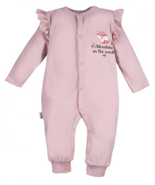 EEVI Detský bavlnený overal bez šlapiek Adventure- Liška - púdrový, veľ. 86-#Velikost koj. oblečení;86 (12-18m)
