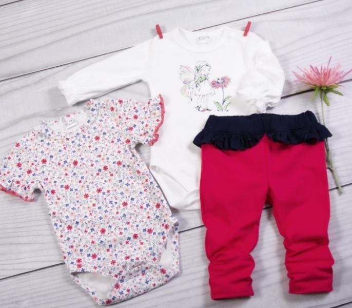 K-Baby 3 dielna sada - 2x body dlhý a krátký rukáv, legínky s volánikom - Motýlek-#Velikost koj. oblečení;62 (2-3m)