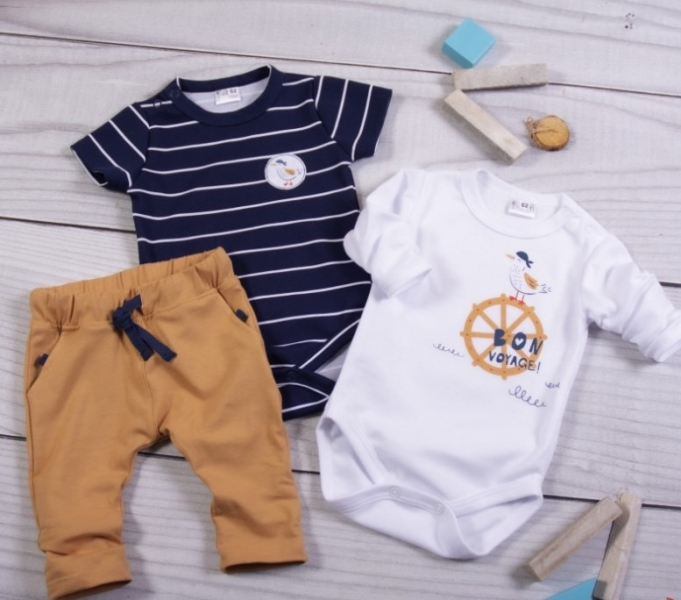 K-Baby 3-dielna sada - 2x body dlhý a krátky rukáv, tepláčiky, Námorník, veľ. 68-#Velikost koj. oblečení;68 (4-6m)