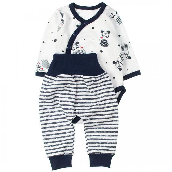 MBaby 2-dielna dojčenská sada body s dl.rukávom zap.bokom + tepláčky, Panda-#Velikost koj. oblečení;56 (1-2m)