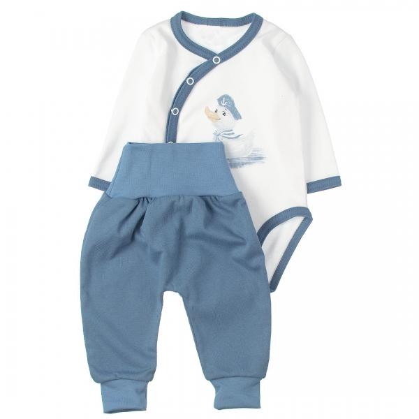 MBaby 2-dielna dojčenská sada body s dl.rukávom zap.bokom + tepláčky, Duck boy, vel. 68-#Velikost koj. oblečení;68 (4-6m)