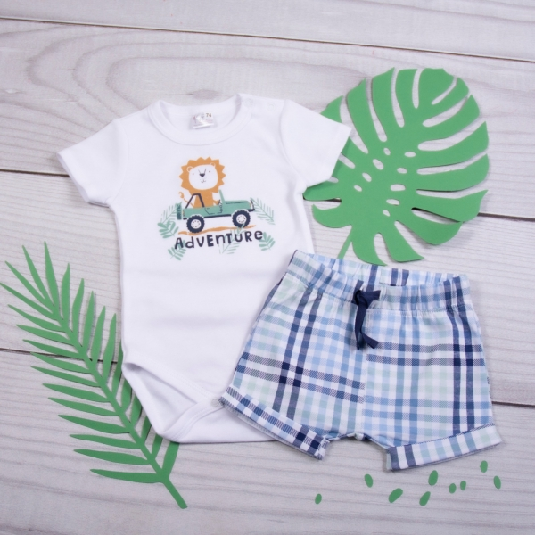 K-Baby 2 dielna detská súprava, body s kr. rukávom a kraťasky Adventure Lvíček-#Velikost koj. oblečení;62 (2-3m)