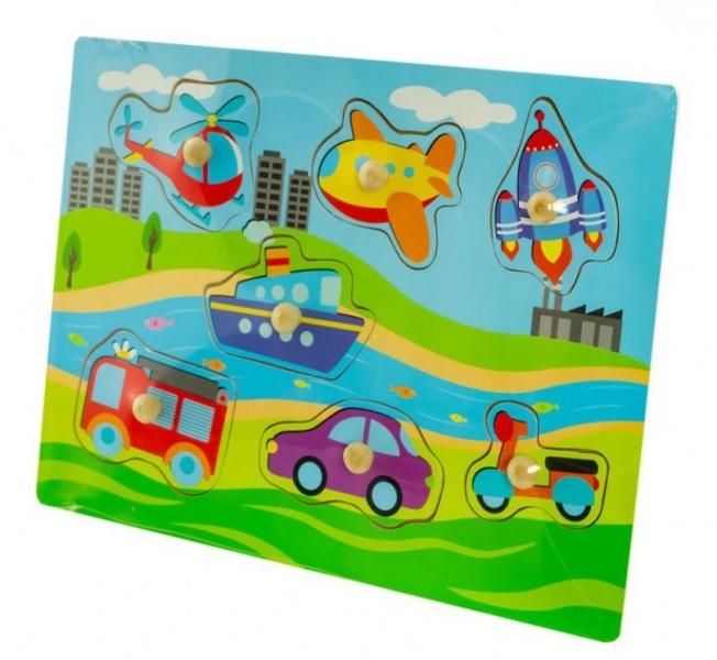 Drevené zábavné puzzle vkladacie Euro Baby - Dopravné prostriedky