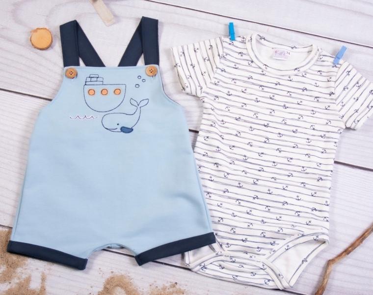 K-Baby 2 dielna detská súprava, body s kr. rukávom, traky HOLIDAY, modré-#Velikost koj. oblečení;62 (2-3m)