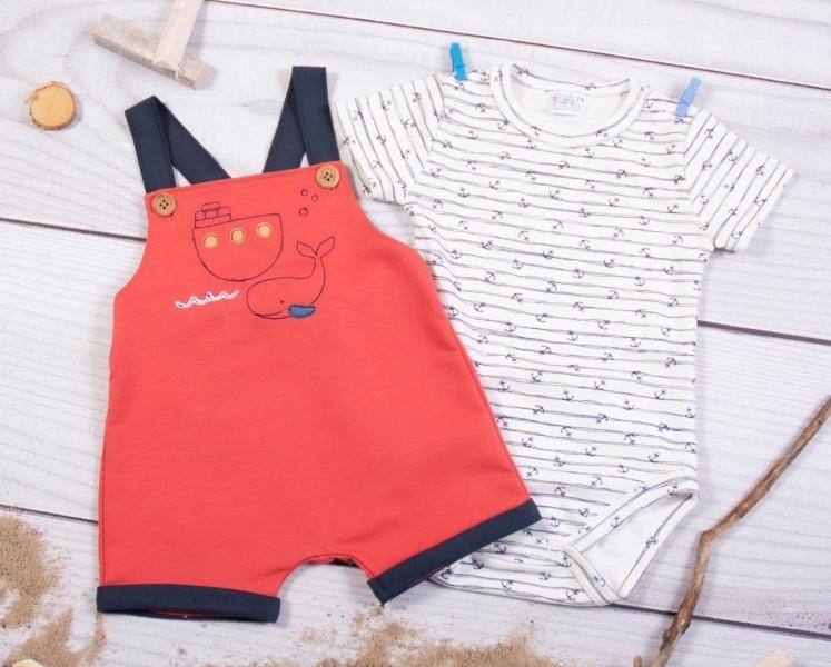 K-Baby 2 dielna detská súprava, body s kr. rukávom, traky HOLIDAY, červená, veľ. 74-#Velikost koj. oblečení;74 (6-9m)