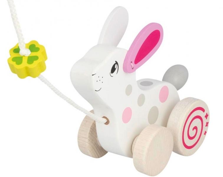 Goki Edukačná drevená hračka s rolničkou, 15 cm ťahacie - Králík