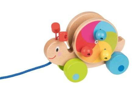 Goki Edukačná drevená hračka 15,5 cm ťahacie - Hlemýžď
