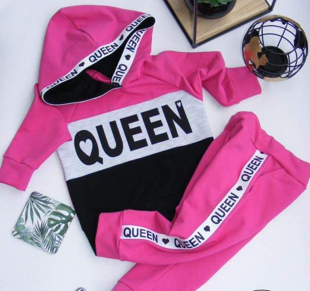 G-baby Štýlová bavlnená tepláková súprava Queen - malinová / čierna, veľ. 92-#Velikost koj. oblečení;92 (18-24m)