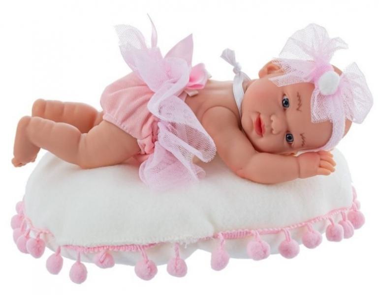 Nines Luxusná bábika Golosinas na vankúši s bambulkami a vôňou vanilky - 21 cm