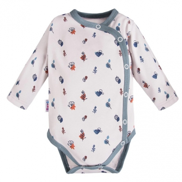 EEVI Dojčenské body dl. rukáv, zapínanie bokom Adventure s potlačou, sivé-#Velikost koj. oblečení;56 (1-2m)