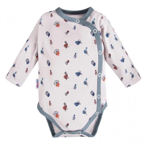 EEVI Dojčenské body dl. rukáv, zapínanie bokom Adventure s potlačou, sivé, vel. 68-#Velikost koj. oblečení;68 (4-6m)