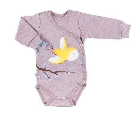 EEVI Dojčenské body dl. rukáv, zapínanie bokom Adventure Bird, sivé-#Velikost koj. oblečení;56 (1-2m)