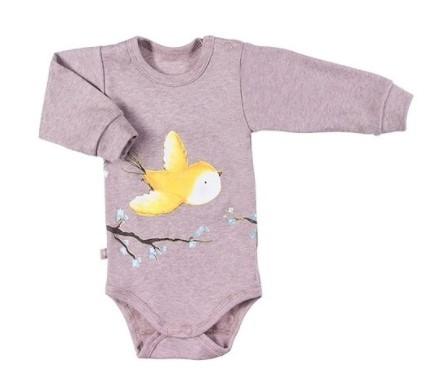 EEVI Dojčenské body dl. rukáv, zapínanie u krku, Adventure Bird, sivé, veľ. 80-#Velikost koj. oblečení;80 (9-12m)