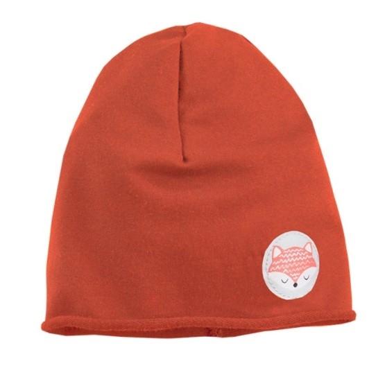 EEVI Detská jarná / jesenná bavlnená čiapka - Adventure Liška - tehlová-#Velikost koj. oblečení;0-1rok