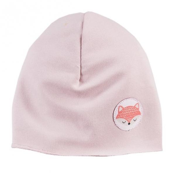 EEVI Detská jarná / jesenná bavlnená čiapka - Adventure Liška - sv.ružová-#Velikost koj. oblečení;0-1rok