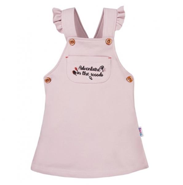 EEVI Dievčenské šaty s laclom Adventure - pudrové, veľ. 86