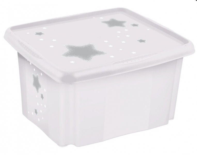 Baby Nellys Box na hračky Baby Star 24 l - biely