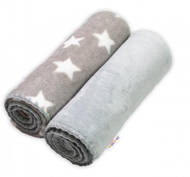 Baby Nellys Detská Coral deka - Dual pack, 80x90 cm, Hviezdička, sivá