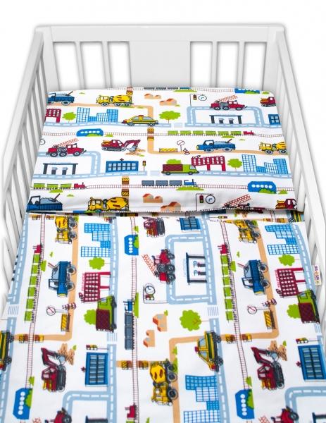 Baby Nellys 2 - dielne bavlnené obliečky - Stavebné stroje, biela-#Velikost povlečení;120x90