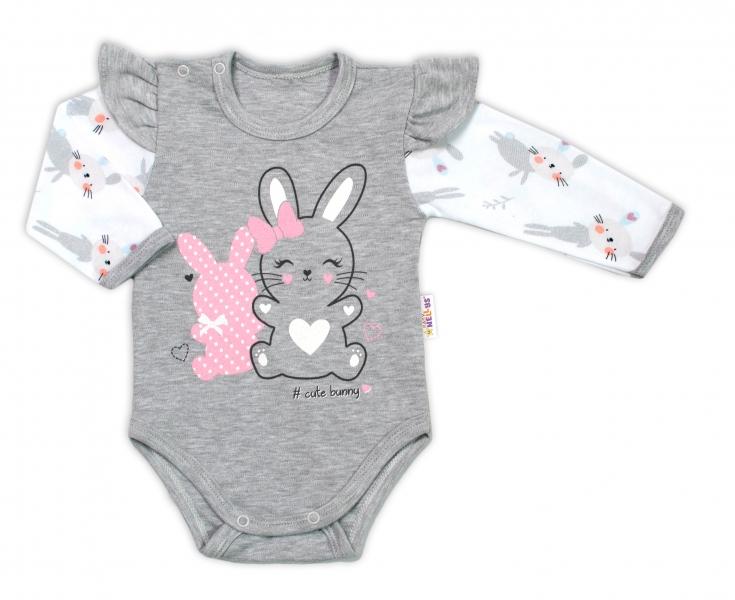 Baby Nellys Dojčenské body, dl. rukáv s volánikmi Cute Bunny, sivé-#Velikost koj. oblečení;74 (6-9m)