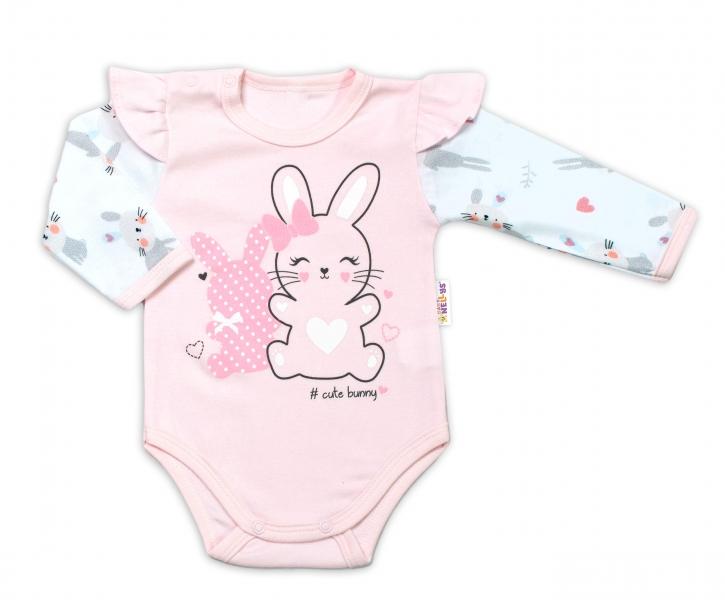 Baby Nellys Dojčenské body, dl. rukáv  s volánikmi Cute Bunny, ružové-#Velikost koj. oblečení;74 (6-9m)
