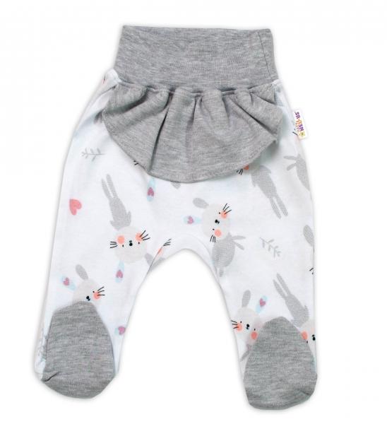 Baby Nellys Bavlnené dojčenské polodupačky, Cute Bunny - sivé