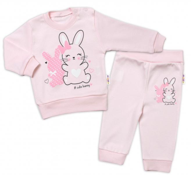Baby Nellys Detská tepláková súprava Cute Bunny - ružová, veľ. 92