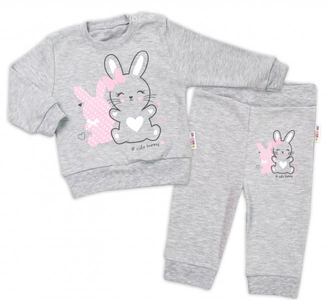 Baby Nellys Dojčenská tepláková súprava Cute Bunny - sivá, veľ. 80-#Velikost koj. oblečení;80 (9-12m)