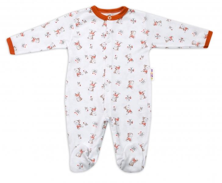 Baby Nellys Bavlnený dojčenský overal Teddy - biely