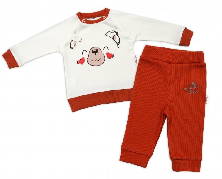 Baby Nellys Detská tepláková súprava Teddy,dvojaké zap. pri krku - smotanová, veľ. 86