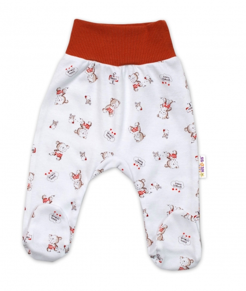 Baby Nellys Bavlnené dojčenské polodupačky, Teddy - biele
