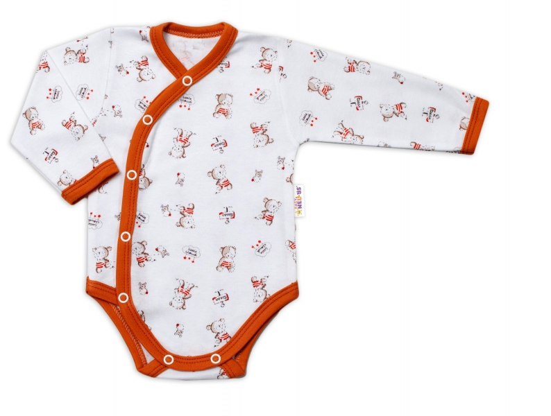 Baby Nellys Dojčenské body, dl. rukáv, zap.bokem Teddy, biele s potlačou-#Velikost koj. oblečení;56 (1-2m)