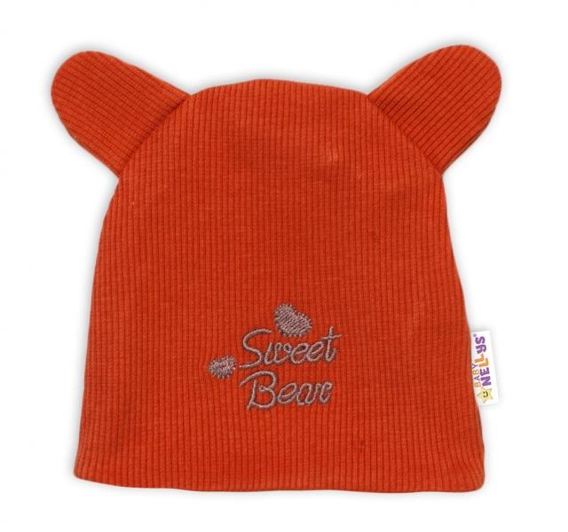 Baby Nellys Dvojvrstvová dojčenská čiapočka s uškami Teddy - tehlová, veľ. 74-#Velikost koj. oblečení;74 (6-9m)