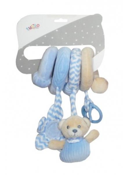 Tulilo Plyšová špirála s hrkálkou a hryzátkom Méďa Teddy, 28 cm - modrá