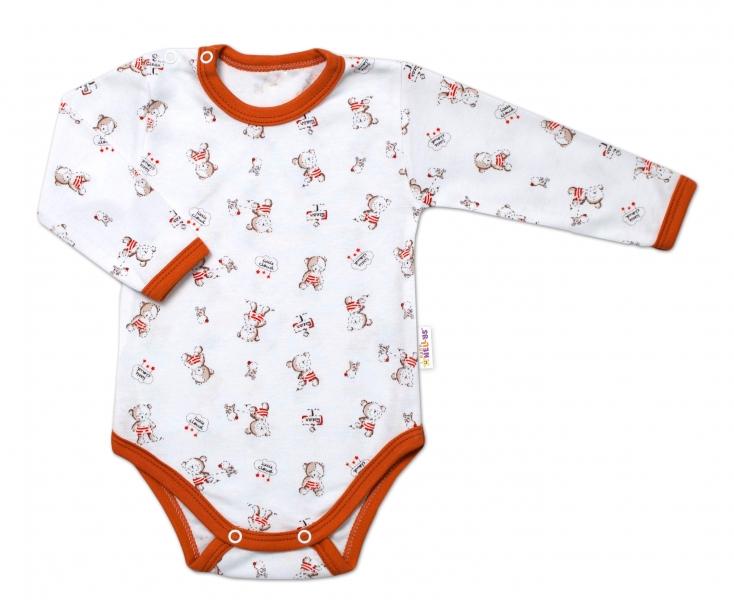 Baby Nellys Dojčenské body, dl. rukáv, Teddy, biele s potlačou, veľ. 86